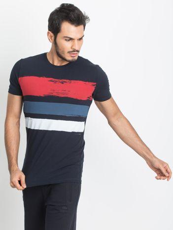Granatowy t-shirt męski TOMMY LIFE