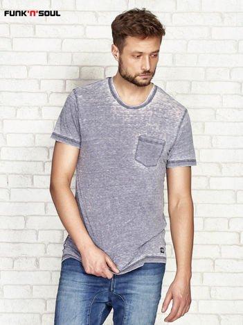 Granatowy t-shirt męski acid wash FUNK N SOUL