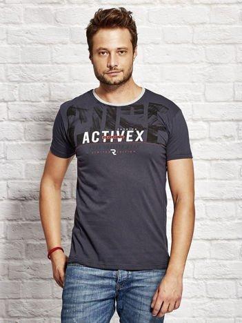 Granatowy t-shirt męski z printem