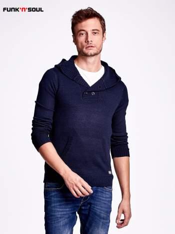 Granatowy wełniany sweter męski z kieszenią z przodu FUNK N SOUL