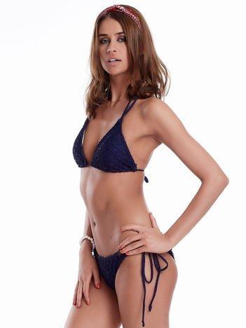 Granatowy wiązany kostium kąpielowy bikini z siateczką