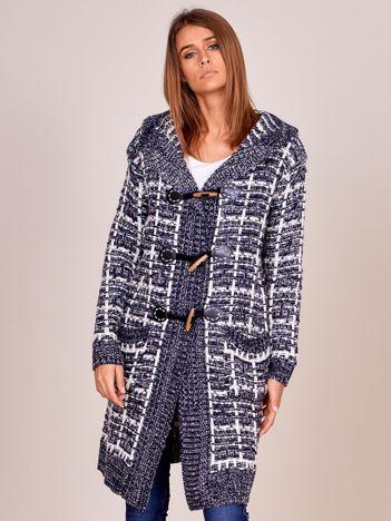 Granatowy zapinany sweter z kapturem