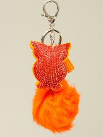HIT! Puchaty pomarańczowy brelok do kluczy,zawieszka do torebki SOWA z cyrkoniami i chwostem