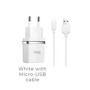 HOCO C11 Inteligentna ładowarka sieciowa USB 1A z przewodem Micro-USB do ładowania urządzeń Android Kolor biały