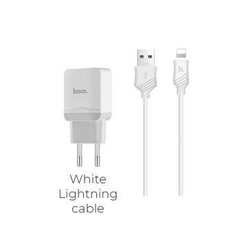 HOCO C22A Inteligentna ładowarka sieciowa USB 2.4A z przewodem Lightning do ładowania urządzeń Apple Kolor biały