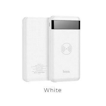 HOCO J11 Bezprzewodowy Powerbank o mocy 10000 mAh Mikro-USB / Lightning / wejście C 5 V 5 W podwójny USB Wyjście 2.1A / 1A.Kolor biały.