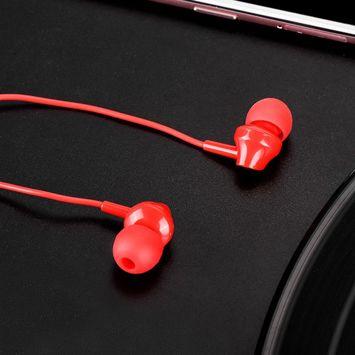 HOCO M14 Słuchawki przewodowe jack 3,5 mm douszne lekkie z mikrofonem i sterowaniem na kablu czerwone