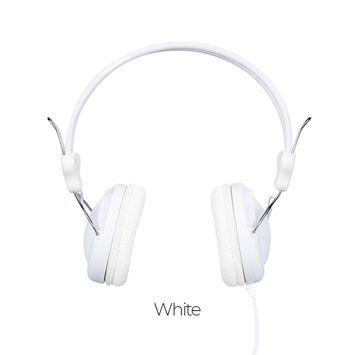 HOCO W5 Słuchawki z mikrofonem i sterowaniem za pomocą jednego przycisku Miękkie nauszniki Membrana 40mm Jack 3,5mm białe