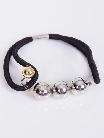 INCA Gumka do włosów czarna ze srebrnymi perłami