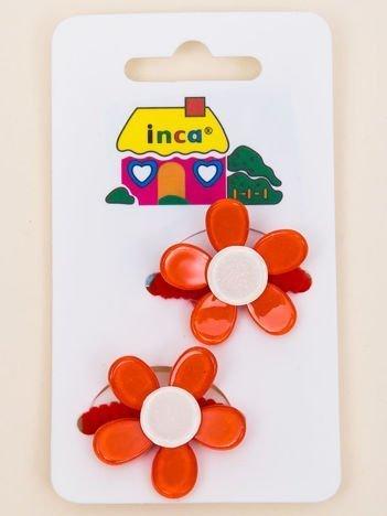 INCA Gumki do włosów czerwone z kolorowymi kwiatami z brokatem komplet 2 szt.