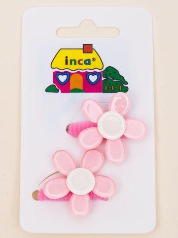 INCA Gumki do włosów jasnoróżowe z kolorowymi kwiatami z brokatem komplet 2 szt.