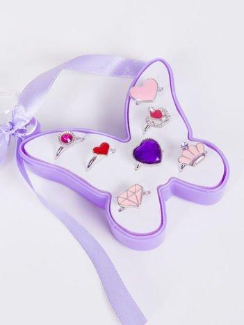 INCA Komplet pierścionków (z regulacją) dla dziewczynki w ozdobnym pudełku 7 szt