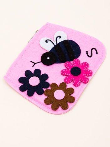 INCA Mały portfel z dzianiny ze wzorem kwiatowym jasnoróżowy