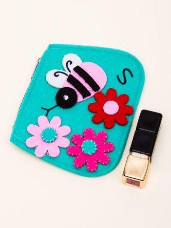 INCA Mały portfel z dzianiny ze wzorem kwiatowym miętowy
