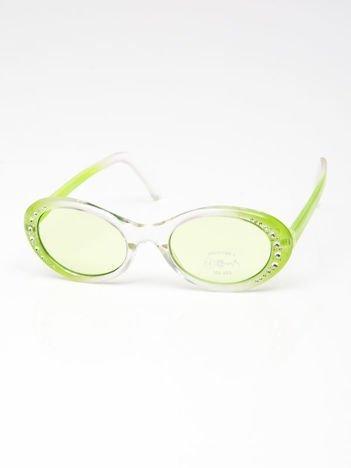 INCA Okulary dziecięce zielone z cyrkoniami