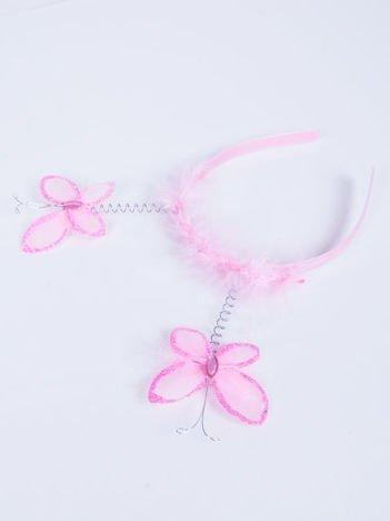 INCA Opaska dla dziewczynki z motylkami i puszkiem różowa