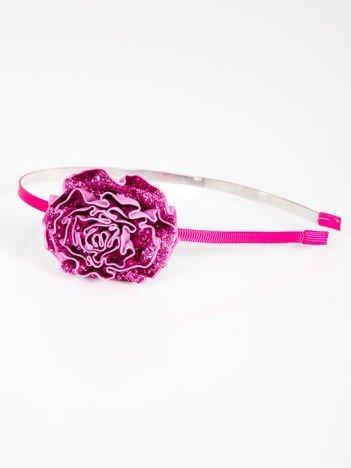 INCA Opaska do włosów Różowa z ozdobną dużą różą