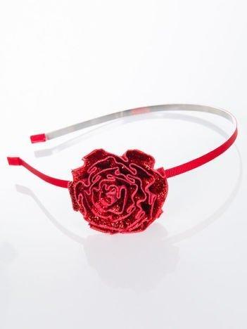 INCA Opaska do włosów czerwona z ozdobną dużą różą
