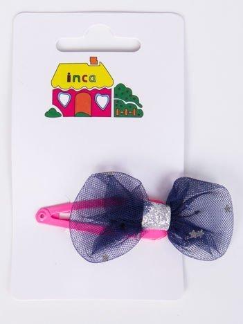 INCA Spinka różowa z granatową kokardką
