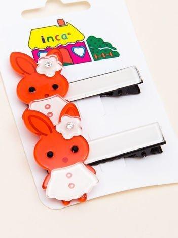 INCA Spinki do włosów jasnoczerwone króliczki komplet 2 szt.