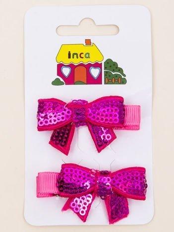 INCA Spinki do włosów krokodylki różowe kokardki z cekinami komplet 2 szt.