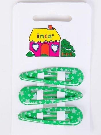 INCA Spinki do włosów zielone 4 cm Komplet 3 szt.