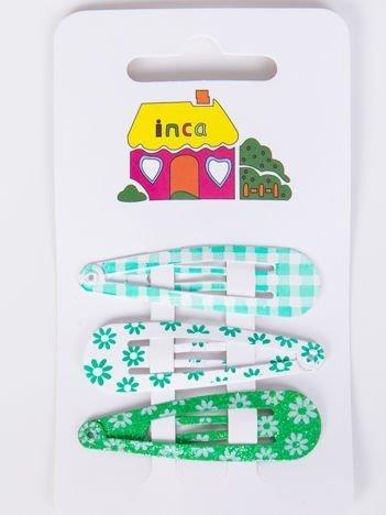INCA Spinki  zielone wzorzyste Zestaw 3 szt.