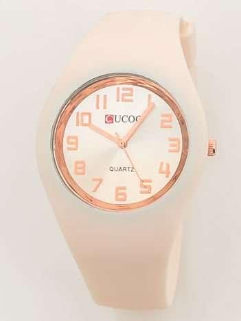 JELLY Zegarek damski na silikonowym wygodnym pasku kremowy