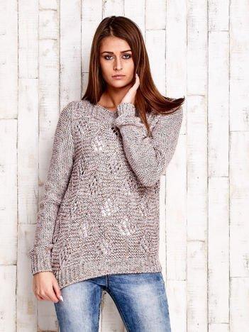 JUST LOU Beżowy sweter w ażurowy wzór
