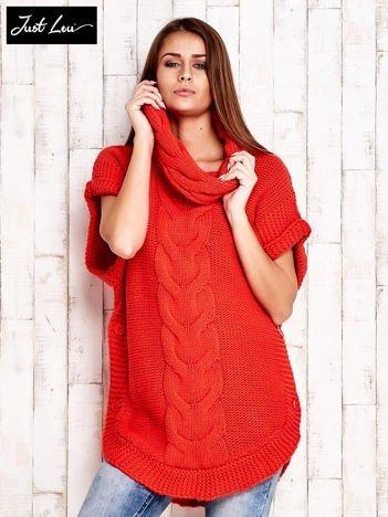 JUST LOU Czerwony sweter z warkoczowym splotem