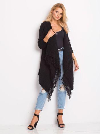 JUST LOU Otwarty sweter z frędzlami czarny