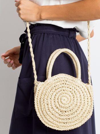 Jasnobeżowa mała torebka pleciona