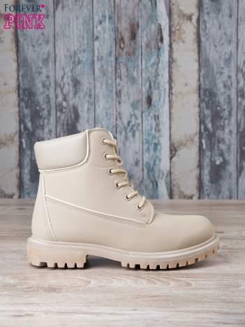 Jasnobeżowe jednolite buty trekkingowe damskie Westie traperki ocieplane