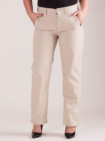 Jasnobeżowe materiałowe spodnie PLUS SIZE