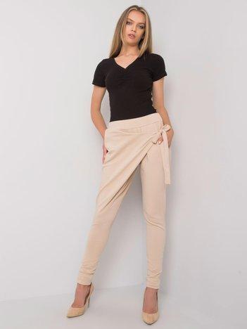 Jasnobeżowe spodnie dresowe z wiązaniem Arantaxa