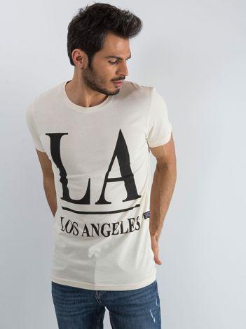 Jasnobeżowy t-shirt męski z napisem