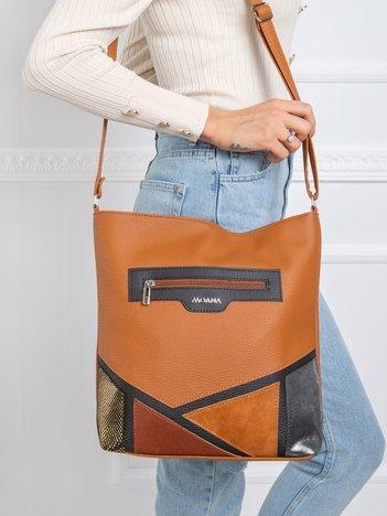 Jasnobrązowa torba z aplikacją