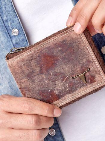 Jasnobrązowy portfel męski na suwak