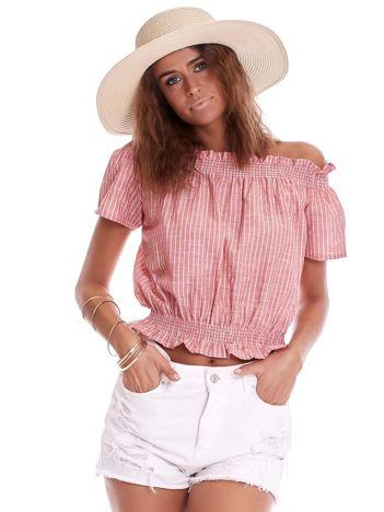 Jasnoczerwona bluzka hiszpanka z motywem pasków