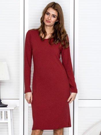 Jasnoczerwona sukienka damska w prążek