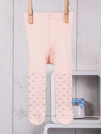Jasnomorelowe bawełniane rajstopki niemowlęce w serduszka dla dziewczynki
