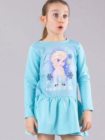Jasnoniebieska dziewczęca sukienka z nadrukiem FROZEN