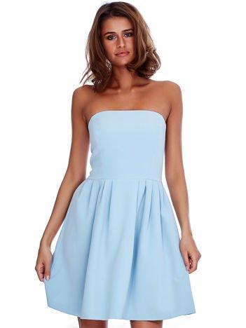 Jasnoniebieska gorsetowa sukienka z rozkloszowanym dołem