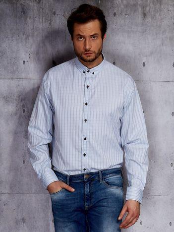 Jasnoniebieska koszula męska w delikatny wzór PLUS SIZE