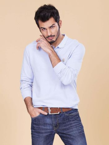 Jasnoniebieska koszulka polo męska z długim rękawem