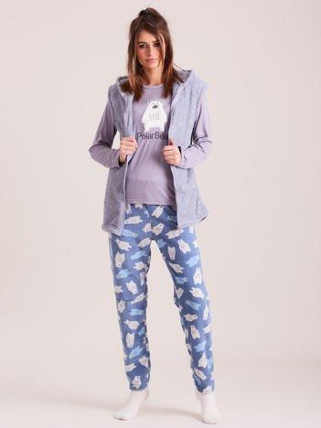 Jasnoniebieska trzyczęściowa piżama damska