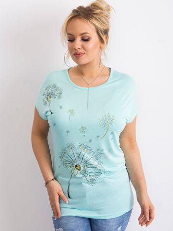 Jasnoniebieski t-shirt damski z nadrukiem PLUS SIZE