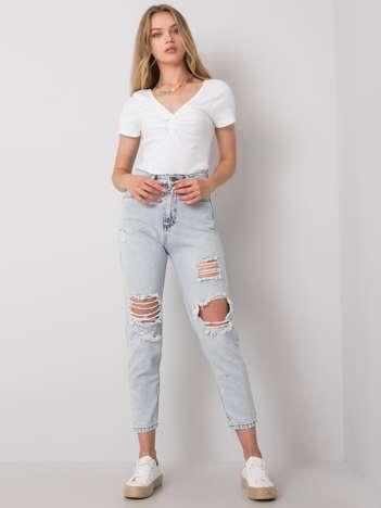 Jasnoniebieskie mom jeans z dziurami Alexa