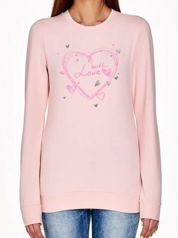 Jasnoróżowa bluza z napisem WITH LOVE