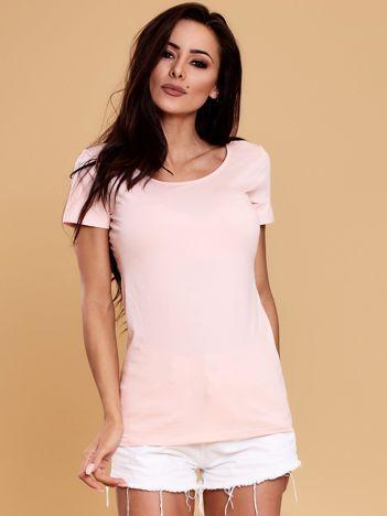 Jasnoróżowa bluzka damska z koronkową wstawką